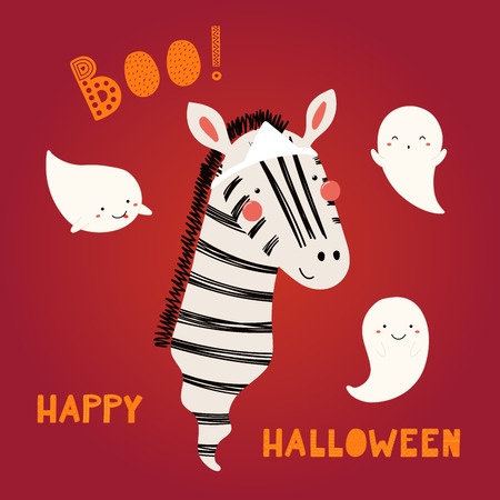 Hand drawn vector illustration of a cute funnny zebra Japanese ghost, with text Happy Halloween. Isolated objects. Scandinavian style flat design. Concept for children print, party invitation.