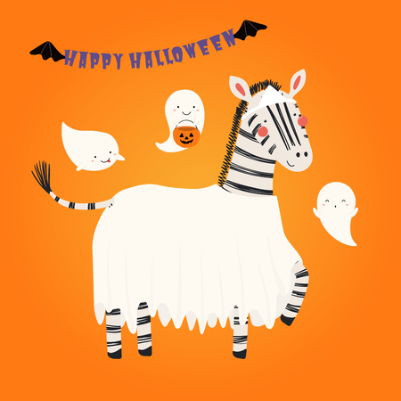Hand drawn vector illustration of a cute funny zebra in a ghost costume, with text Happy Halloween. Isolated objects. Scandinavian style flat design. Concept for children print, party invitation.