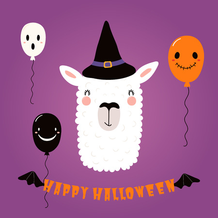 Hand drawn vector illustration of a cute funny llama in a witch hat, with balloons, text Happy Halloween. Isolated objects. Scandinavian style flat design. Concept for children print, party invitation