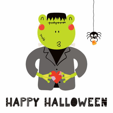 Hand drawn vector illustration of a cute funny frog in a Frankenstein monster costume, with text Happy Halloween. Isolated objects on white. Scandinavian style flat design. Concept for children print. Illustration