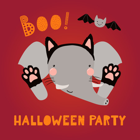 Hand drawn vector illustration of a cute funny elephant in a black cat costume, with text Halloween party. Isolated objects. Scandinavian style flat design. Concept children print, party invitation. Illustration