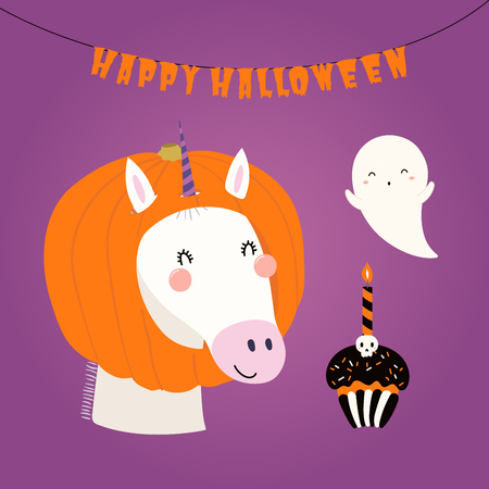 Hand drawn vector illustration of a cute funny unicorn in a pumpkin hat, with ghost, text Happy Halloween. Isolated objects. Scandinavian style flat design. Concept children print, party invitation.