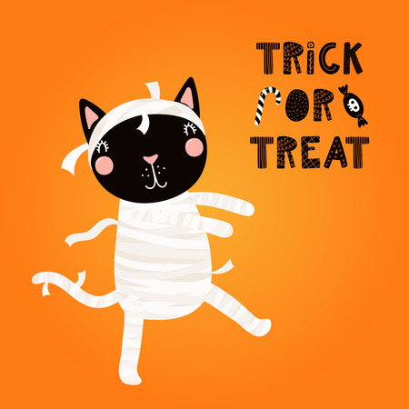 Hand drawn vector illustration of a cute funny black cat in a mummy costume, with text Trick or treat. Isolated objects. Scandinavian style flat design. Concept for children print, party invitation.