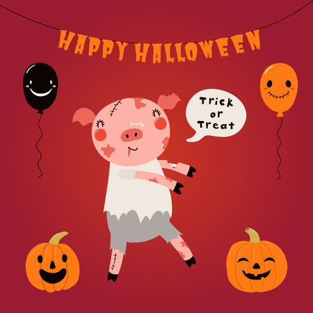 Hand drawn vector illustration of a cute funny pig in a zombie costume, with text Happy Halloween. Isolated objects. Scandinavian style flat design. Concept for children print, party invitation.