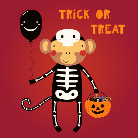 Hand drawn vector illustration of a cute funny monkey in a skeleton costume, with text Trick or treat. Isolated objects. Scandinavian style flat design. Concept for children print, party invitation.