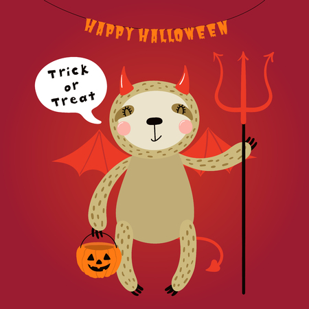 Hand drawn vector illustration of a cute funny sloth in a devil costume, with text Happy Halloween. Isolated objects. Scandinavian style flat design. Concept for children print, party invitation.