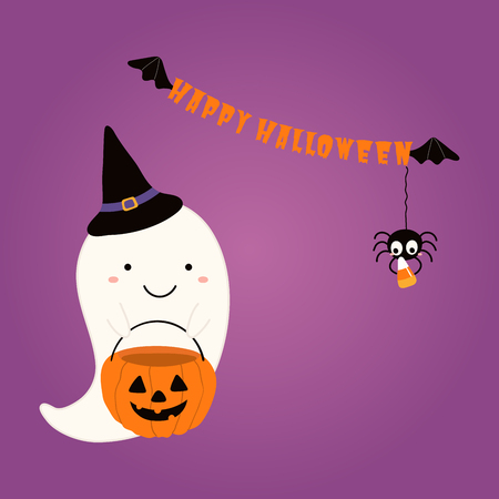 Hand drawn vector illustration of a cute funnny ghost in a witch hat, with candy bag, text Happy Halloween. Isolated objects. Scandinavian style flat design. Concept children print, party invitation.