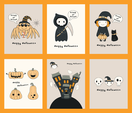 Set of Halloween greeting cards with kawaii funny characters, text, pumpkins, haunted house, ghosts. Hand drawn vector illustration. Line drawing. Design concept for kids print, party invitation.