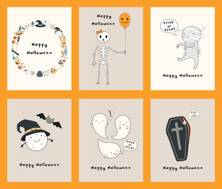 Set of Halloween greeting cards with kawaii funny characters, text, mummy, skeleton, pumpkins, ghosts. Hand drawn vector illustration. Line drawing. Design concept for kids print, party invitation.