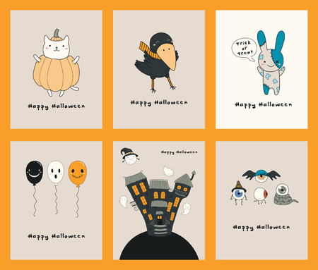 Set of Halloween greeting cards with kawaii funny characters, text, haunted house, ghosts, balloons. Hand drawn vector illustration. Line drawing. Design concept for kids print, party invitation. Illustration