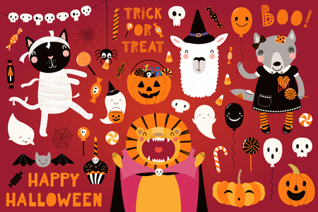 Big Halloween set with cute animals lion, cat, llama, wolf in costumes, ghosts, pumpkin, candy. Isolated objects. Hand drawn vector illustration. Scandinavian style flat design. Concept for kids party Illustration