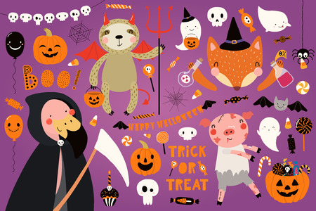 Big Halloween set with cute animals flamingo, sloth, fox, pig in costumes, ghosts, pumpkin, candy. Isolated objects. Hand drawn vector illustration. Scandinavian style flat design. Concept for party.