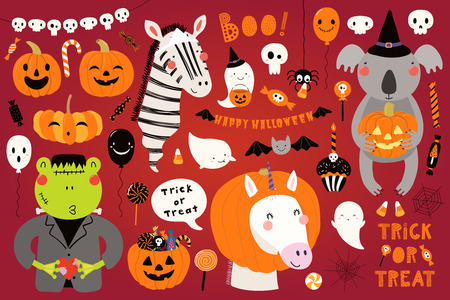 Big Halloween set with cute animals koala, unicorn, zebra, frog in costumes, ghosts, pumpkin, candy. Isolated objects. Hand drawn vector illustration. Scandinavian style flat design. Concept for party Illustration