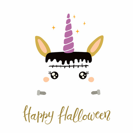 Hand drawn vector illustration of a cute funny Frankenstein unicorn face decoration, with quote Happy Halloween. Isolated objects on white background. Flat style design. Concept for children print.