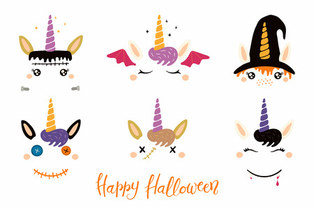 Halloween set with cute unicorn faces, witch, vampire, zombie, Frankenstein, devil. Isolated objects. Hand drawn vector illustration. Flat style design. Concept for children print, party invitation