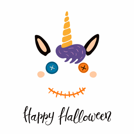 Hand drawn vector illustration of a cute funny unicorn face with button eyes, stitched mouth, quote Happy Halloween. Isolated objects on white background. Flat style design. Concept for children print