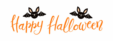 Banner with hand written lettering quote Happy Halloween, with cute bats. Vector illustration. Isolated objects on white background. Flat style design. Concept, element for celebration. Ilustração