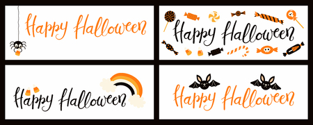 Set of banners with hand written quote Happy Halloween, spider, candy, bats, rainbow. Vector illustration. Isolated objects on white background. Flat style design. Concept, element for celebration.