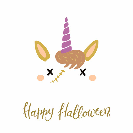 Hand drawn vector illustration of a cute funny zombie unicorn face decoration, with lettering quote Happy Halloween. Isolated objects on white background. Flat style design. Concept for children print