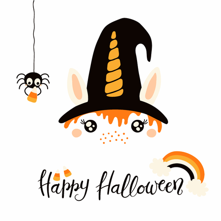 Hand drawn vector illustration of a cute funny witch unicorn face decoration, with lettering quote Happy Halloween. Isolated objects on white background. Flat style design. Concept for children print.