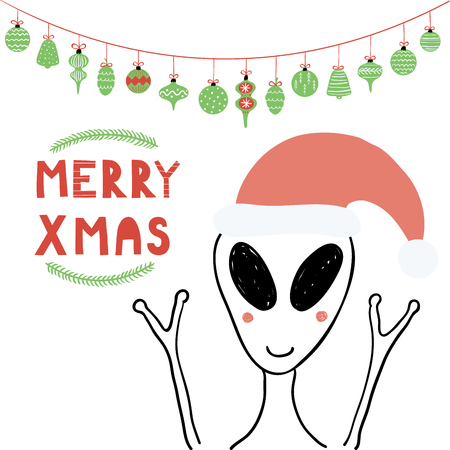Hand drawn vector illustration of a cute funny alien in a Santa Claus hat, with text Merry Xmas. Isolated objects on white background. Line drawing. Design concept for Christmas card, invite. Illustration