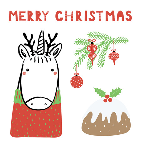 Hand drawn vector illustration of a cute funny unicorn with deer antlers, pudding, tree branch, text Merry Christmas. Isolated objects on white background. Line drawing. Design concept card, invite. Illustration