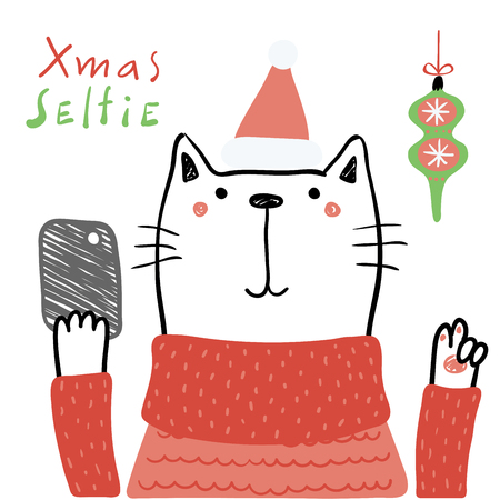 Hand drawn vector illustration of a cute funny cat in a Santa hat, with a smart phone, text Xmas selfie. Isolated objects on white background. Line drawing. Design concept for Christmas card, invite.