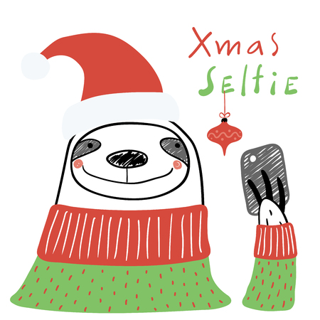 Hand drawn vector illustration of a cute funny sloth in a Santa hat, with a smart phone, text Xmas selfie. Isolated objects on white background. Line drawing. Design concept for Christmas card, invite