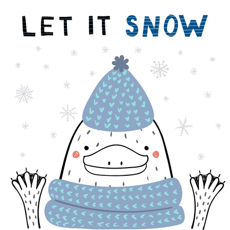 Hand drawn vector illustration of a cute funny platypus in a knitted hat, scarf, with text Let it snow. Isolated objects on white background. Line drawing. Design concept for Christmas card, invite.