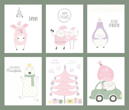 Set of Christmas cards with cute funny cartoon Santa Claus, polar bear, penguin, snowman, tree, car, typography. Hand drawn vector illustration. Flat style design. Concept for print, holiday season.