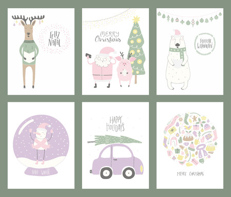 Set of Christmas cards with cute funny cartoon Santa Claus, polar bear, pig, deer, snowman, snow globe, tree, car, typography. Hand drawn vector illustration. Flat style design. Concept for print.