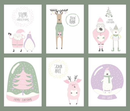 Set of Christmas cards with cute funny cartoon Santa Claus, elf, polar bear, pig, deer, penguin, snow globe, tree, typography. Hand drawn vector illustration. Flat style design. Concept for print.