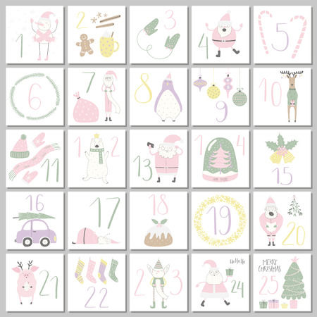 Advent calendar with cute funny Santa Claus, elf, polar bear, penguin, pig, deer, snowman, snow globe, tree, car, holiday objects. Hand drawn vector illustration. Flat style design Christmas Concept