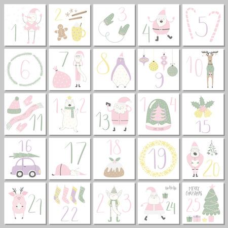 Calendrier de l'Avent avec un joli père Noël drôle, un elfe, un ours polaire, un pingouin, un cochon, un cerf, un bonhomme de neige, une boule à neige, un arbre, une voiture, des objets de vacances. Illustration vectorielle dessinés à la main. Conception de style plat Concept de Noël
