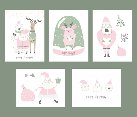 Set of Christmas cards with cute funny cartoon Santa Claus, polar bear, pig, deer, snow globe, typography. Hand drawn vector illustration. Flat style design. Concept for print, holiday season. Vectores