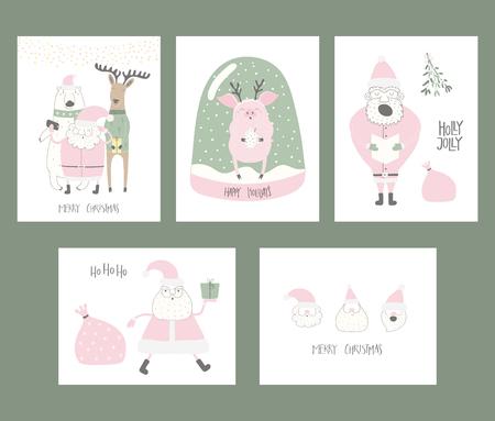 Set of Christmas cards with cute funny cartoon Santa Claus, polar bear, pig, deer, snow globe, typography. Hand drawn vector illustration. Flat style design. Concept for print, holiday season. Illustration