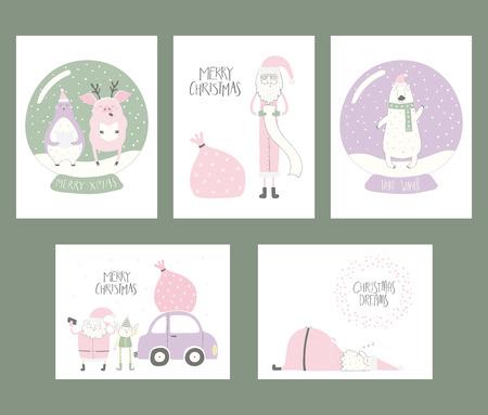 Set of Christmas cards with cute funny cartoon Santa Claus, elf, polar bear, penguin, pig, snow globe, car, typography. Hand drawn vector illustration. Flat style design. Concept for holiday season. Illustration