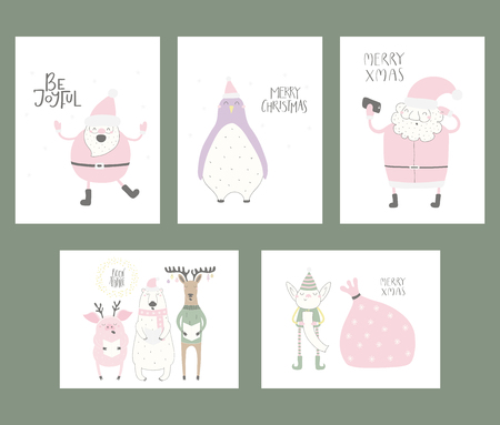 Set of Christmas cards with cute funny cartoon Santa Claus, elf, polar bear, penguin, pig, deer, typography. Hand drawn vector illustration. Flat style design. Concept for print, holiday season.