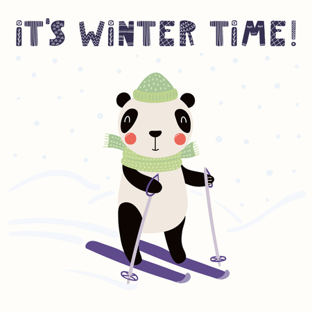 Hand drawn vector illustration of a cute funny panda skiing outdoors in winter, with text Its winter time. Isolated objects on white background. Scandinavian style flat design. Concept children print.