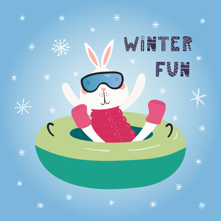 Hand drawn vector illustration of a cute funny bunny snow tubing outdoors in winter, with text Winter fun. Isolated objects on blue background. Scandinavian style flat design. Concept children print.