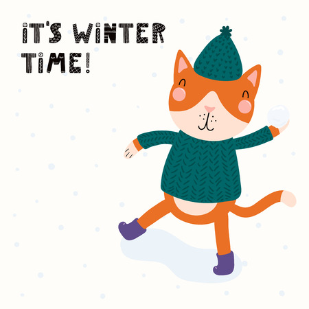 Hand drawn vector illustration of a cute funny cat throwing snowball, outdoors, with text Its winter time. Isolated objects on white background. Scandinavian style flat design. Concept children print.