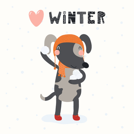 Hand drawn vector illustration of a cute funny dog throwing snowball, outdoors, with text Winter. Isolated objects on white background. Scandinavian style flat design. Concept for children print. Иллюстрация