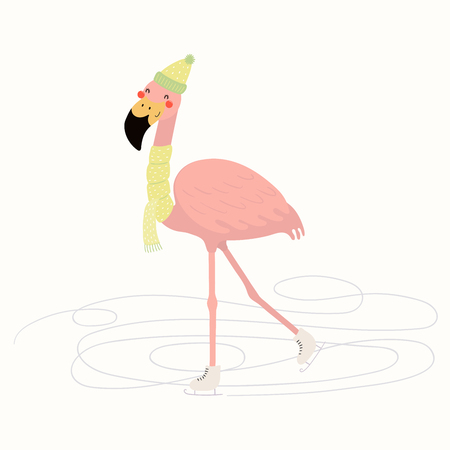 Hand drawn vector illustration of a cute funny flamingo skating outdoors in winter. Isolated objects on white background. Scandinavian style flat design. Concept for children print. Illustration
