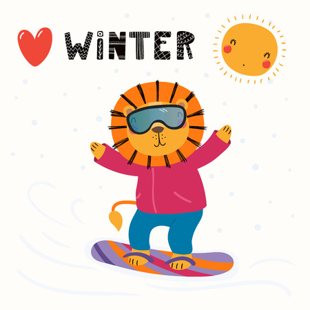 Hand drawn vector illustration of a cute funny lion snowboarding outdoors in winter, with text Winter. Isolated objects on white background. Scandinavian style flat design. Concept for children print. Vectores