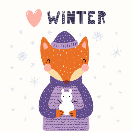 Hand drawn vector illustration of a cute funny fox holding little snowman, outdoors, with text Winter. Isolated objects on white background. Scandinavian style flat design. Concept for children print. Illustration