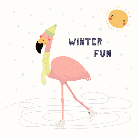 Hand drawn vector illustration of a cute funny flamingo skating outdoors in winter, with text Winter fun. Isolated objects on white background. Scandinavian style flat design. Concept children print. Иллюстрация
