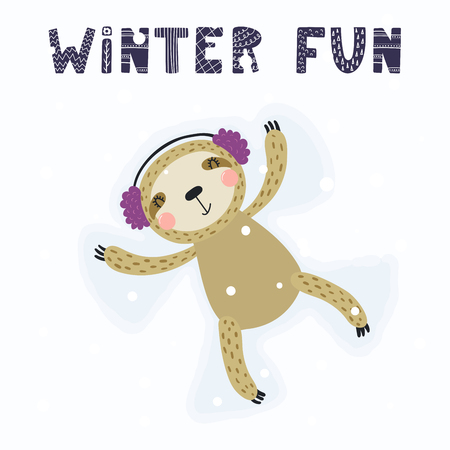 Hand drawn vector illustration of a cute funny sloth making snow angel, with text Winter fun. Isolated objects on white background. Scandinavian style flat design. Concept for children print.