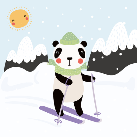 Hand drawn vector illustration of a cute funny panda skiing outdoors in winter, with mountain landscape background. Scandinavian style flat design. Concept for children print.