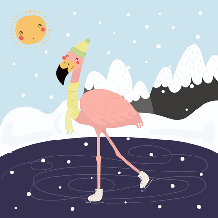 Hand drawn vector illustration of a cute funny flamingo skating outdoors in winter, with mountain landscape background. Scandinavian style flat design. Concept for children print. Illustration