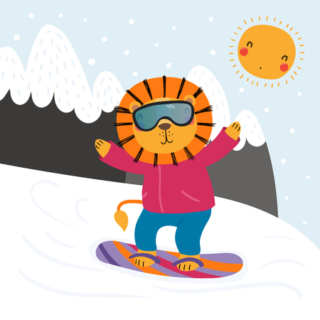 Hand drawn vector illustration of a cute funny lion snowboarding outdoors in winter, with mountain landscape background. Scandinavian style flat design. Concept for children print.